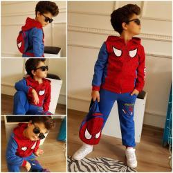 Spiderman kapşonlu çantalı takım
