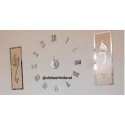 Pleksi Saat ve Duvar Dekorları Set